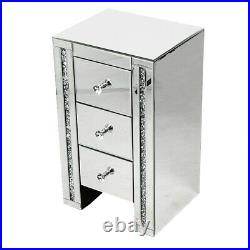 2 X Mirrored Mirror Bedside Bed Side Table Cabinet 3 Draws Bedroom Cabinet uk