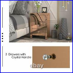 3 Drawers Mirror Accent Side / End Table Golden Finished Nightstand for Bedroom