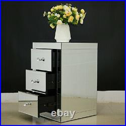 3 Drawers Modern Furniture Mirrored Glass Bedside Cabinet Table Home Bedroom Set