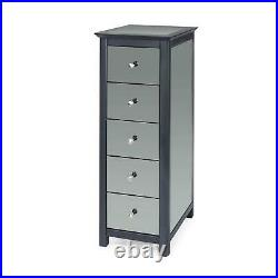 5 Drawer Dark Carbon Finish Narrow Chest of Drawers Mirrored Panels Bedroom