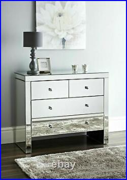 BEDROOM SET Mirrored Chest of 4 Storage Drawers & 2 Mirror Bedside Night Chest