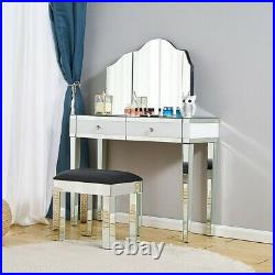 Bedroom 1/2 Drawers Mirrored Glass Dressing Table Cushioned Stool Mirror Set UK