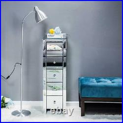 Bedroom Cabinet Unit Mirrored Bedside Table Crystal Glass Chest of 5 Drawers