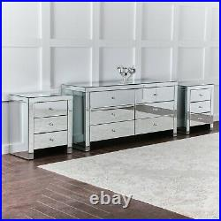 Bedroom Deal Mirrored 6 Drawer Storage Cabinet with 2 Matching Bedside Tables