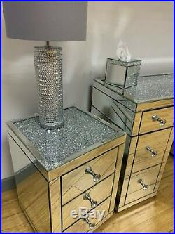 Bedroom Set Diamond Crush 7 Drawer Mirrored Dressing Table & 2 Bedside Cabinets