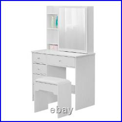 Bedroom White Dressing Table Wood Makeup Desk with Slide Mirror 5 Drawers Stool