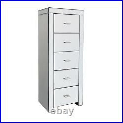 Charles Bentley Mirrored Glass Furniture 5 Drawer Tallboy Chest Cabinet Bedroom