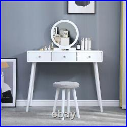 Chic Dressing Table Vanity Table with Round Mirror Drawer Stool Set Bedroom BN