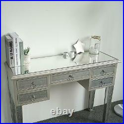 Computer Desk Glass Dressing Table Vanity Bedroom Office with 5 Drawer UK