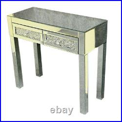 Crystal DIY Mirrored Glass 2 Drawers Dressing Table Console Make-up Desk Bedroom
