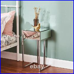 Drawers Mirrored Glass Bedside Table Side Cabinet Cupboard Nightstand Bedroom UK