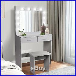 Dressing Table Stool Makeup Desk with 2 Large Drawers Mirror LED Light Bedroom UK