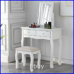 Dressing Table with Mirror and Stool Makeup Dresser White/Grey