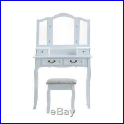 Dressing Tables with 3 Mirrors & Stool Set Bedroom Makeup Desk 4 Drawers Vanity