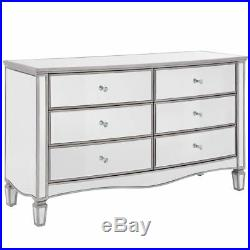 Elysee Mirrored Wide Bedroom Chest of Drawers with 6 Large Storage Drawers