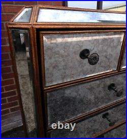 French Art Deco antique style mirrored tall lingerie bedroom chest of drawers