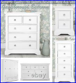 Gainsborough White Bedroom Furniture with crystal handles, bedside chest robe bed