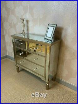 Georgia Luxe Champagne Trim Mirror Mirrored Glass Chest Drawers Bedroom Cabinet