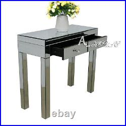 Glass Dressing Table Mirrored Make-up Desk 2 Drawers Bedroom Console Dresser