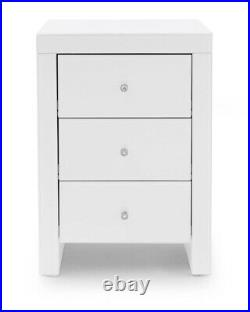 Glass Mirror Bedside Table 3 Drawer Chest Cabinet Crystal Handles Bedroom White