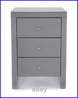 Glass Mirror Bedside Table 3 Drawer Chest Cabinet Modern Handles Bedroom Grey