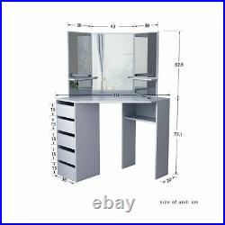Grey Corner Dressing Table Makeup Desk with 5 Drawers & 3 Mirrors & Stool Bedroom