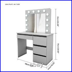 Grey LED Lights Dressing Table Makeup Desk with Mirror 4 Drawers + Stool Bedroom