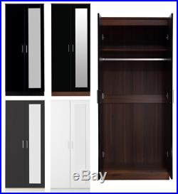 High Gloss 2 Door Mirrored Wardrobe Bedroom Furniture Wardrobe Chest And Bedside