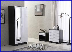 High Gloss 3 Piece Bedroom Furniture Set Wardrobe Chest BedsideFREE DELIVERY