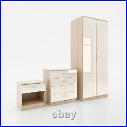 High Gloss Chest of Drawers Wardrobe Bedside Table 3 Trio Set Bedroom Furniture