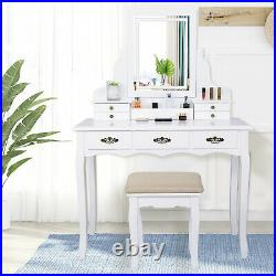 LED Lights Dressing Table Makeup Desk with Mirror 7 Drawers Stool Bedroom White