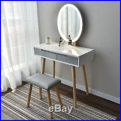 LED Mirror Dressing Table Jewelry Makeup Wood Desk Stool 2 Drawer Bedroom Grey