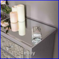 Large Silver Chest of Drawers Mirrored Glass Unit Cabinet Bedroom Hallway Home