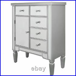 Large Silver Mirrored Chest Cupboard Unit Glass Hallway Cabinet Bedroom Home