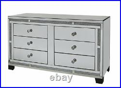 Large crushed crystal mirrored chest of 6 drawers, mirror glass bedroom drawers