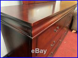 Louis Philippe Style 6 Drawer dressing table & mirror- Mahogany, Cherry bedroom