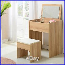 Makeup Dressing Table Unit Lift Up Mirror with Top Faux Leather Stool Set Oak
