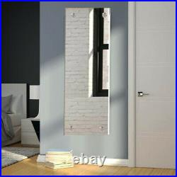 Mirror WithDrilled Rectangle Bedroom Holes & Chrome Cap Wall Fixing Kit 30 x120 cm