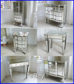 Mirrored Bedroom Furniture Bedside Chest Of Drawers Tall Boy Side Dressing Table