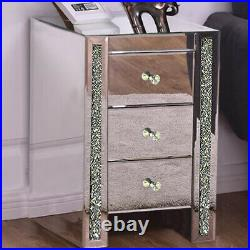 Mirrored Bedside Mirror Bed Side Table Cabinet 3 Draws Bedroom Cabinet