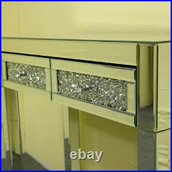 Mirrored Glass 2 Drawers Diamond Dressing Table Console Make-up Desk Bedroom