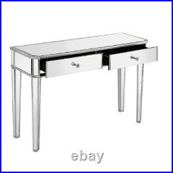 Mirrored Glass 2 Drawers Dressing Table Console Make-up Desk Vanity Bedroom UK