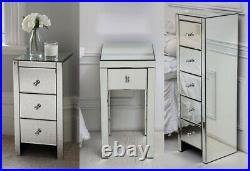 Mirrored Glass Bedside Drawers Table 2 3 5 Drawer Bedroom Furniture Unit