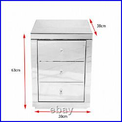 Mirrored Glass Bedside Table Cabinet 3Drawers Stand DIY Modern Bedroom Furniture
