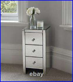 Mirrored Glass Bedside Table cabinet 3 Drawers and Crystal Handles Bedroom Fu