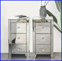 Mirrored Glass Chest Drawer Table Glass Bedside Table Mirrored Bedroom Furniture