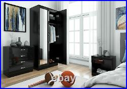 Mirrored Gloss Black 3 Piece Wardrobe Set Bedroom Furniture Free Delivery UK