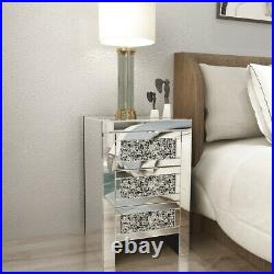 Mirrored Night Tables Glass Bedside Cabinets With Three Drawers Bedroom