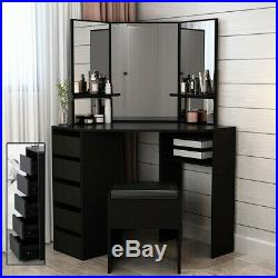 Modern Corner Dressing Table Makeup Desk with5 Drawers & 3 Mirrors Bedroom
