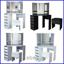 Modern Corner Dressing Table Makeup Desk with5 Drawers & 3 Mirrors & Stool Bedroom